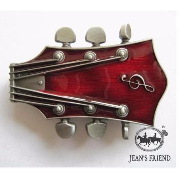 44b4a940709f Boucle ceinture western country cowboy frette de guitare rouge meaty ...