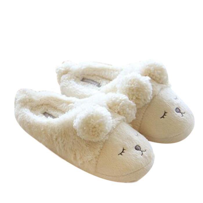 Mode Pantoufle Anti-dérapante Chausson Mouton Confortable Pantoufles d'intérieur Pantoufles en Hiver Gris 38 mAyg4SSrC0