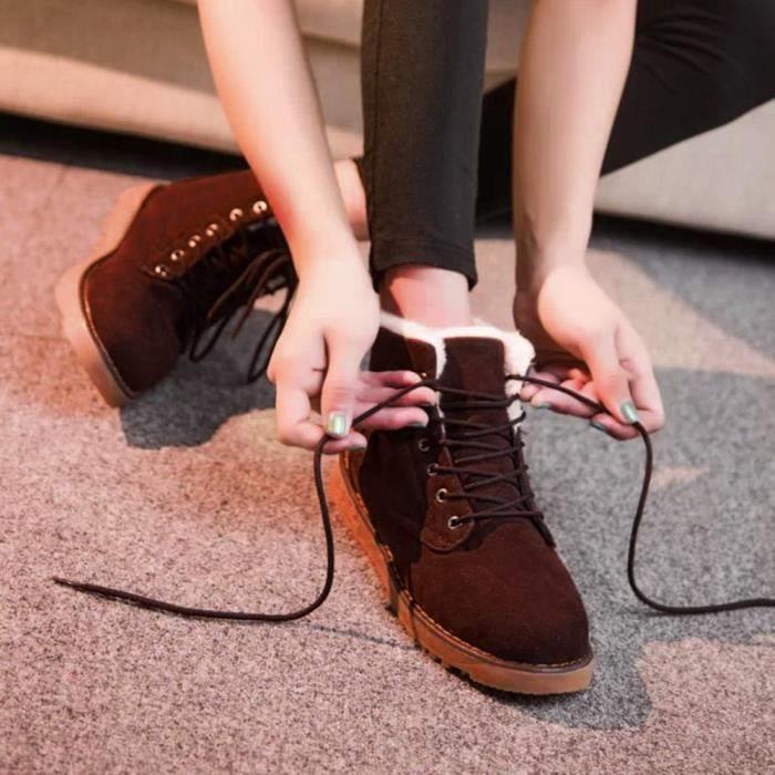 Les femmes hiver chaud avec le velours plat avec des bottes de neige de lacet vers le haut chaussures de cheville