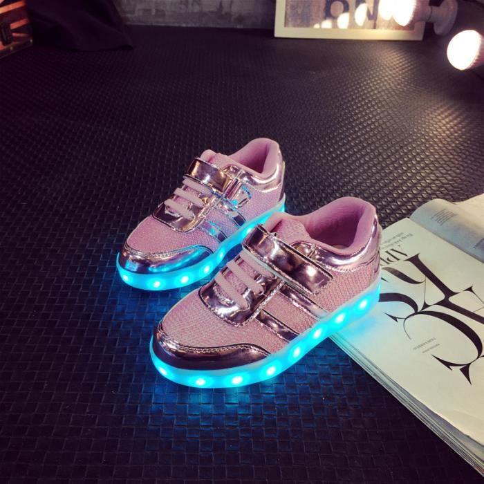 Enfants Confortable chaussures Baskets Garçons filles Bébé LED 7 Couleur USB Chaussures de sport