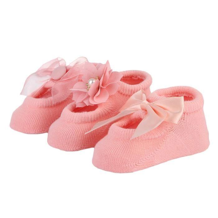 0b4971b4e5a45 GEMVIE Lot de 3Paires Chaussettes Bébé Fille Chaussons Tricot Princesse  Floral