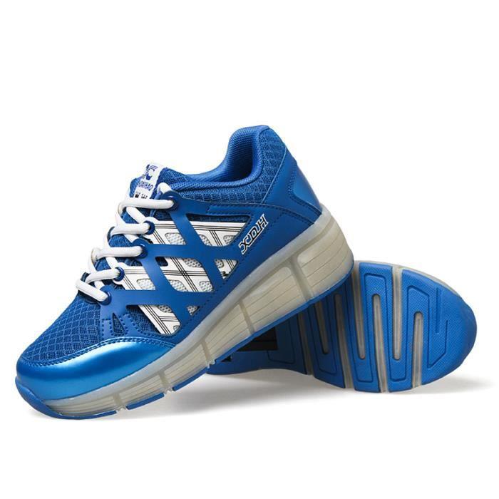 Heelys Chaussures à roulettes filles garçons à roulettes LED Lumière Sneakers - Bleu