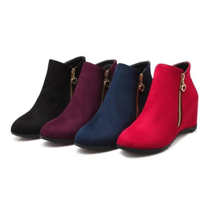 2017 femmes Bottes Fringe Boucle ronde Femmes Flock Toe Driving Chaussures de mode Chaussures Femme Automne Hiver,rouge,40