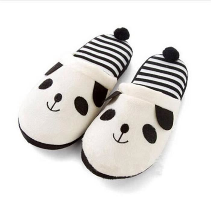 Pantoufles Cartoon Animaux Hiver Chaud Peluche Panda slippers BDG-XZ037Blanc37