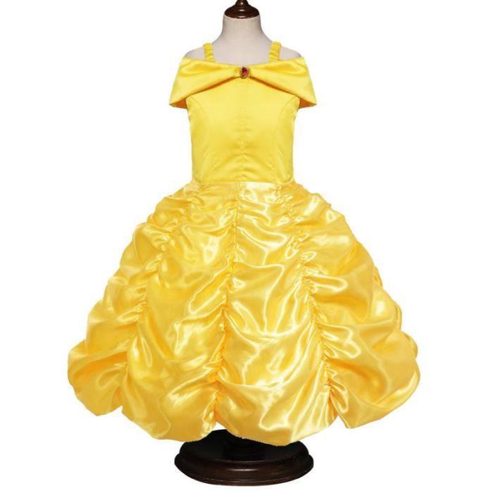 fd3e9eecbbd Robe Fille Ceremonie Longue princess Robe Jaune Pour Enfant Fille 4-11 ans