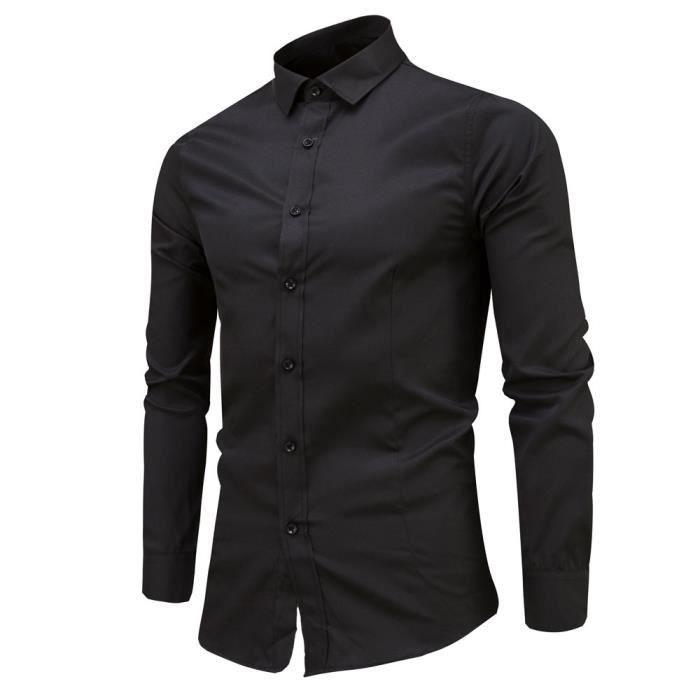 Chemise slim à manches longues pour hommesNoir