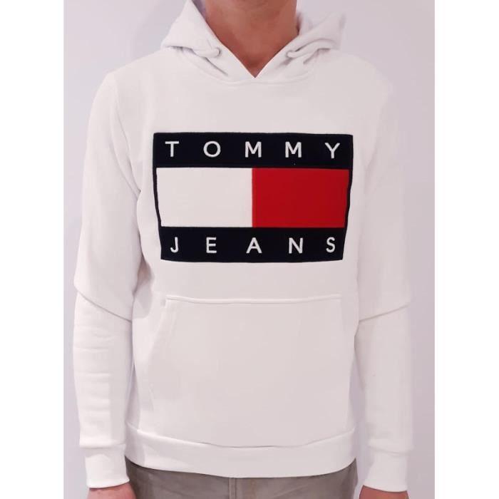 fc254a9abd1 TOMMY HILFIGER TOMMY JEANS Homme Sweat à capuche Blanc Blanc BLANC ...