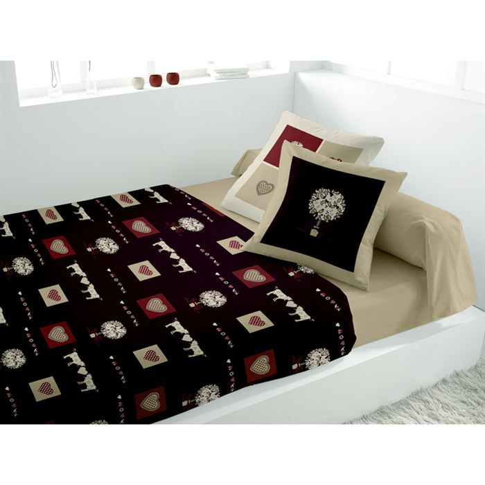 parure de lit marron achat vente parure de lit marron pas cher cdiscount. Black Bedroom Furniture Sets. Home Design Ideas