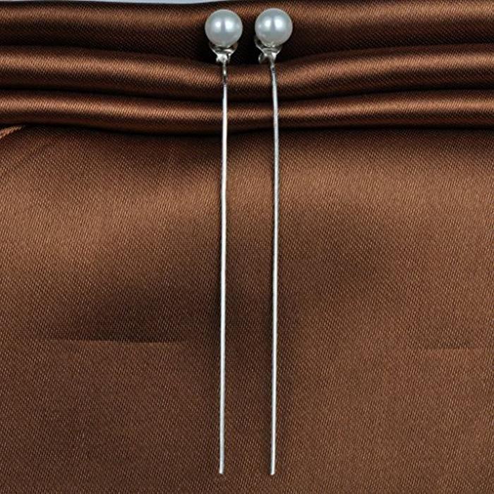 Boucle DOreille En Argent 925 Le Fil DOreille Et La Perle Artificielle Pour Femme Fille