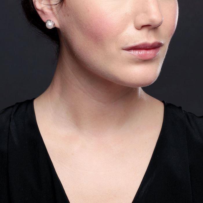 Mes-Bijoux.fr - Boucles doreilles Femme en Perles de culture Blanche et Argent 925-1000 - 8E3801Wgv