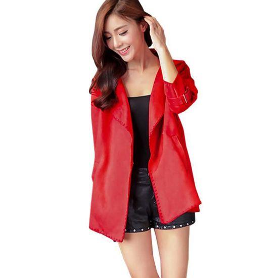 Rouge Hiver Coat368 Pardessus Veste Hauts Solide Femmes vent Manteau Coupe Automne Mode Outwear 7wxPn4qr7
