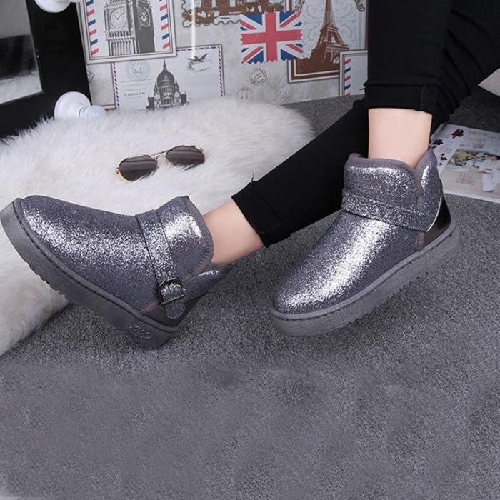 Neige Mode Femme Chaussures Chaud Bottines Hiver Gris Casual Lady nrYOWUxr