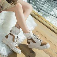 BOTTINE Chaussures Round-Toe en cuir pour femme Croix-Tied