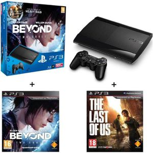 CONSOLE PS3 PACK PS3 NOIRE 500 GO+BEYOND+THE LAST OF US