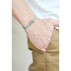 BRACELET - GOURMETTE Bracelet homme avec perle gravée en argent, cordon
