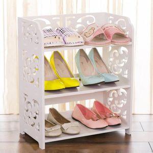 MEUBLE À CHAUSSURES LESHP 3 Etagère à chaussures -6~10 pairs blanc