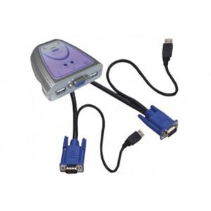 COMMUTATEUR KVM Mini KVM 2 ports VGA-USB avec câbles intégrés