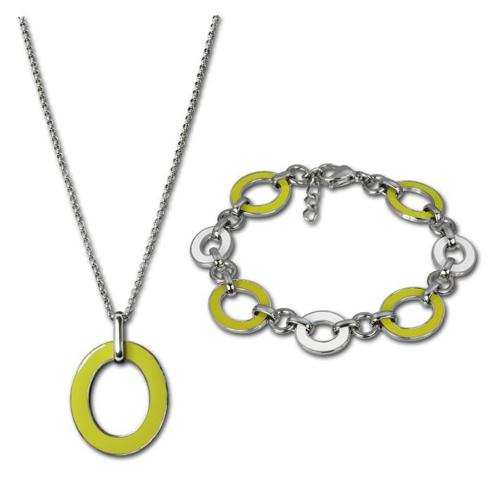 Amello Set en acier inoxydable avec émail jaune - bracelet et collier en acier inoxydable pour femmes