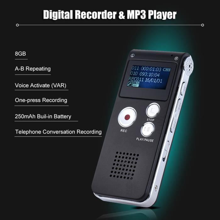 8 Go Intelligent Digital Audio Enregistreur Vocal Dictaphone Lecteur De Musique Mp3 Soutien Voix Var A-b Répétition