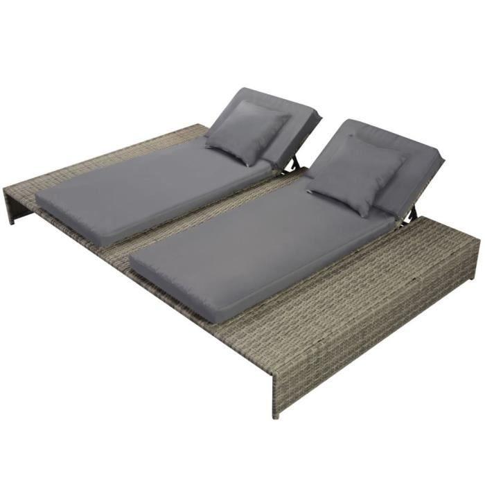 bains de soleil chaise longue double rotin synthetique. Black Bedroom Furniture Sets. Home Design Ideas