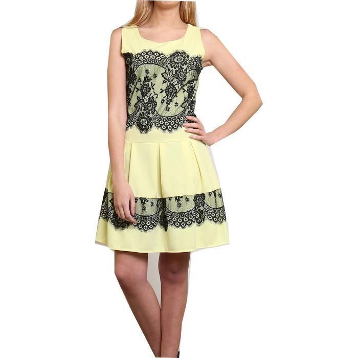 7d0f8c754bd Robe chic élégante femme jaune noire soirée ville - Achat   Vente ...