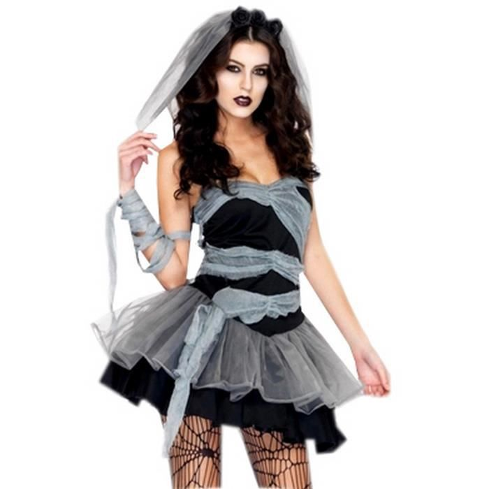 costume d guisement zombie halloween noir femme taille unique achat vente d guisement. Black Bedroom Furniture Sets. Home Design Ideas