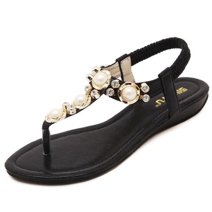 Sandales De Bohemian Noir En Strass Grandes Perlées dnrqrvIZ