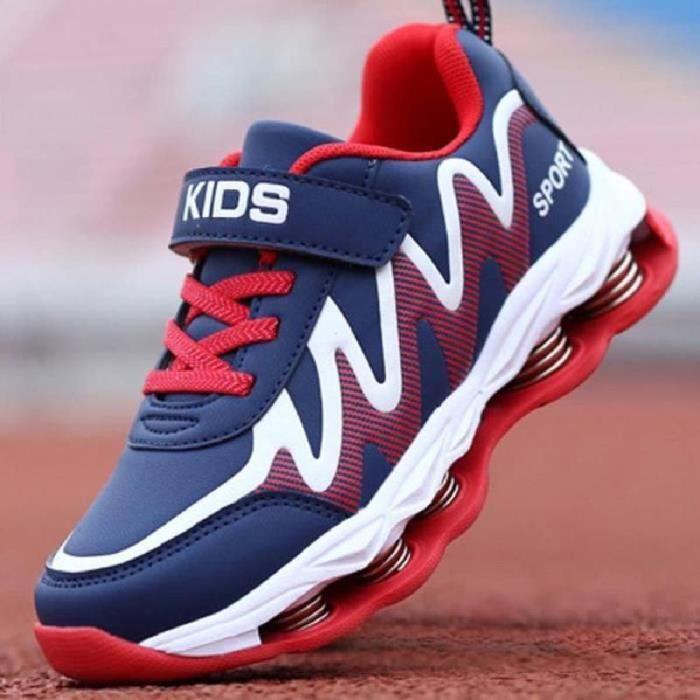 hommes et Enfants Chaussures Sport amorti léger doux et confortable (XXX 5 Bleu Rouge)