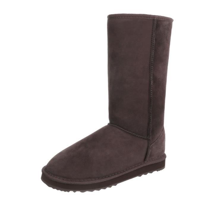 Chaussures femme bottes Doublure chaude cuir bottes marron foncé 38