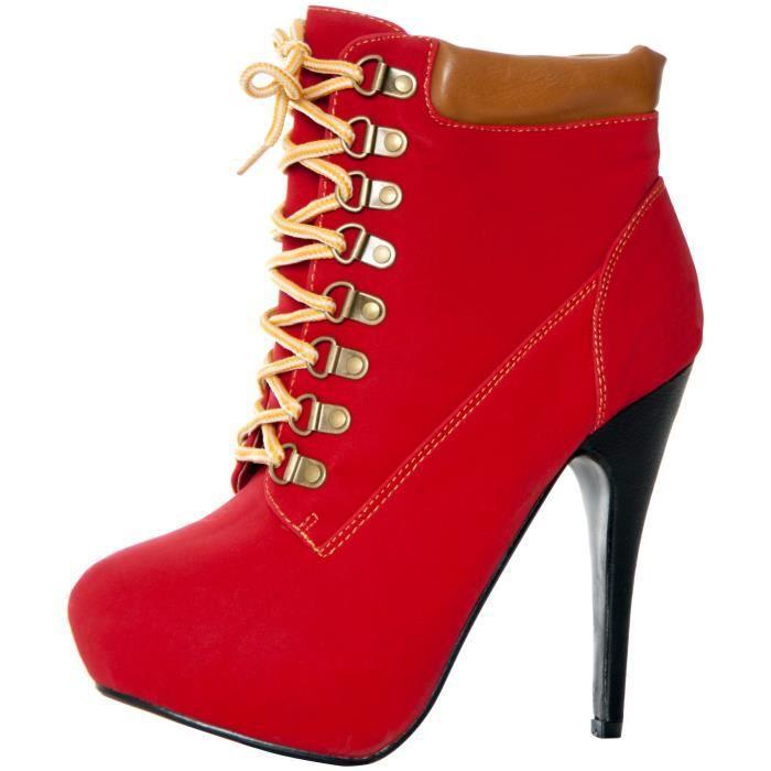 JJF Chaussures à talons hauts bout en amande lacées Bottines synthétiques XYYPL Taille-36 1-2 ALOuFbq8Cp