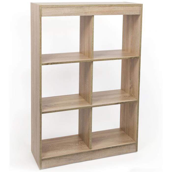 Étagère à livres avec 6 compartiments, 120 x 80 x 29 cm   Achat