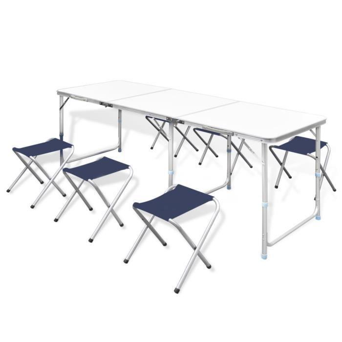 Table Pliante De Camping Reglable En Hauteur Avec 6 Chaises Pour Cuisine Jardin Pique Nique
