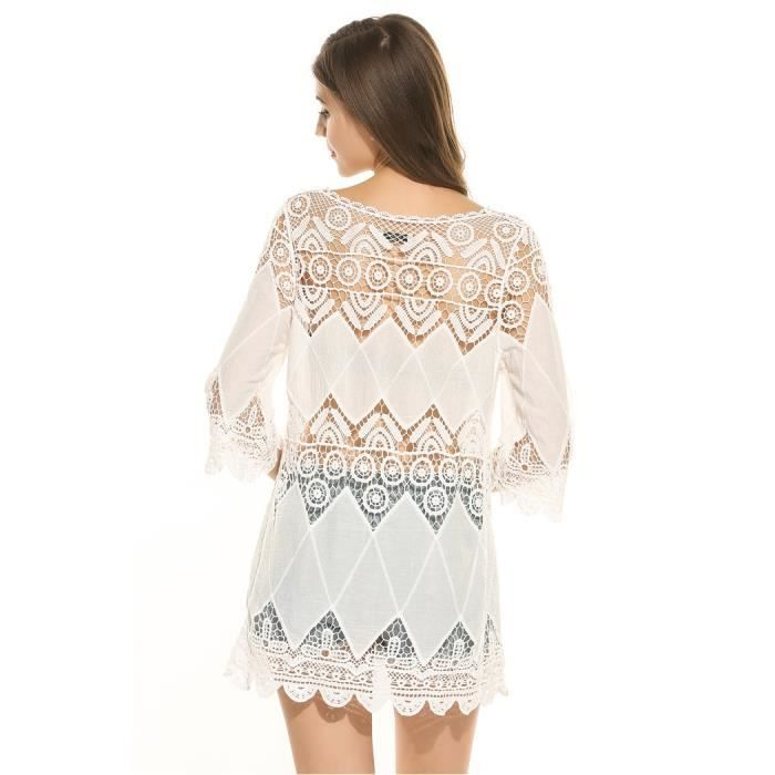 t-shirt femme robe manches 3/4 dentelle Patchwork pull ethnique Style plage Pullover