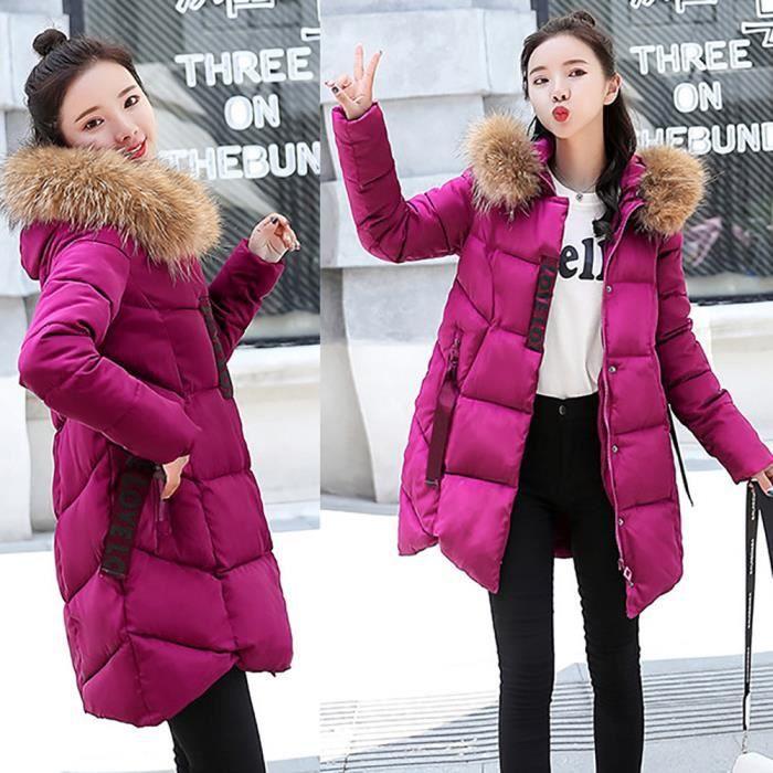 Veste Longue Chaud Fourrure De À Femmes Parka Slim Rose Thicker Vif Col Capuchon Coton Outwear Manteau 8SWqPC