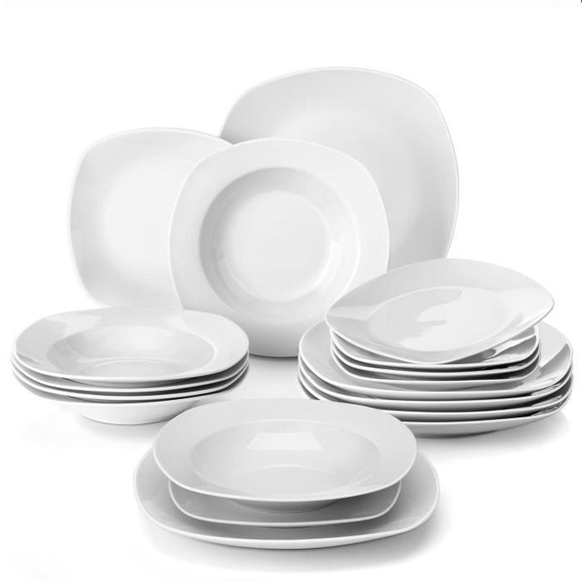 Malacasa ELISA 18pcs Assiettes Porcelaine 6pcs Assiette Plate 24,7cm, 6pcs  Assiette Creuse 21,5cm, 6pcs Assiette à Dessert 19cm 5cf9f6bb63dd