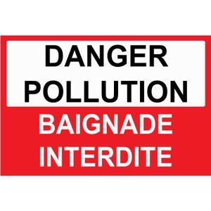 PANNEAU EXTÉRIEUR Panneau danger pollution baignade interdite