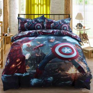 HOUSSE DE COUETTE Parure de lit Avengers Capitaine America Iron Man