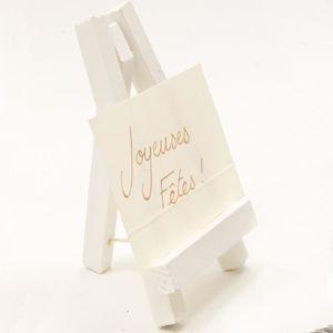 DÉCORATION DE TABLE Petit chevalet bois peint coloris blanc - 10 x 6 c