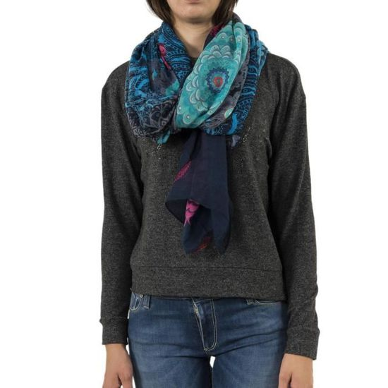 b1c3ef7c4df Foulards desigual 18wawf07 pliss bleu - Achat   Vente echarpe - foulard  8434486559790 - Cdiscount