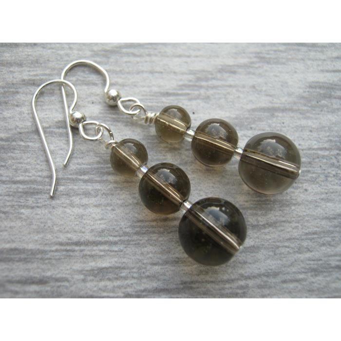 Femmes Quartz fumé Boucle doreilles, pierres précieuses Boucles doreilles, brun gris cristal, bijoux de la nature, 925 St JVNUL