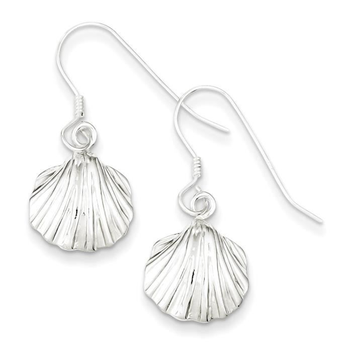 Argent Sterling boucles doreille coquillage
