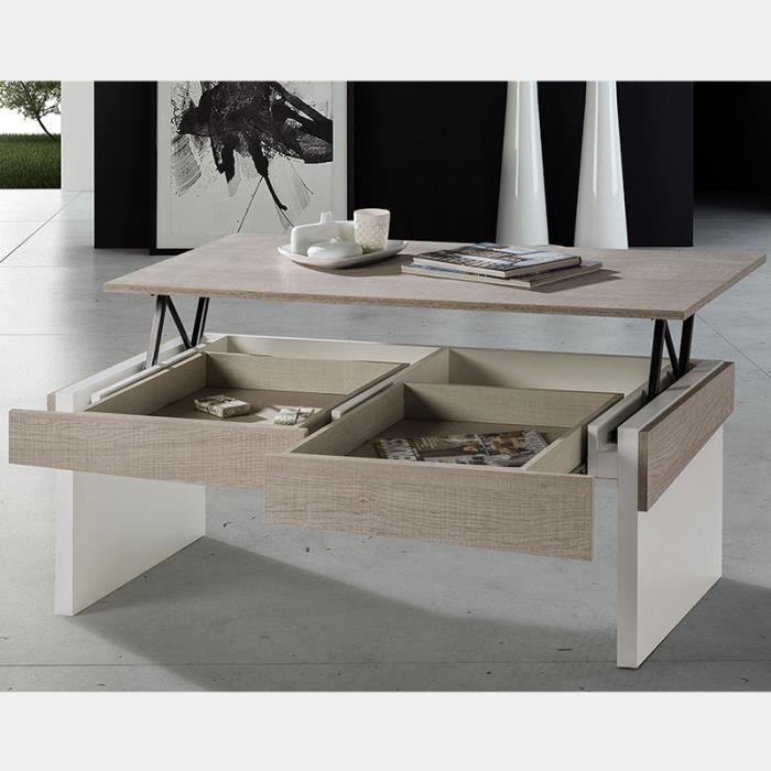 Table Salon Relevable Couleur Bois Clair Et Blanc CARTHAGE