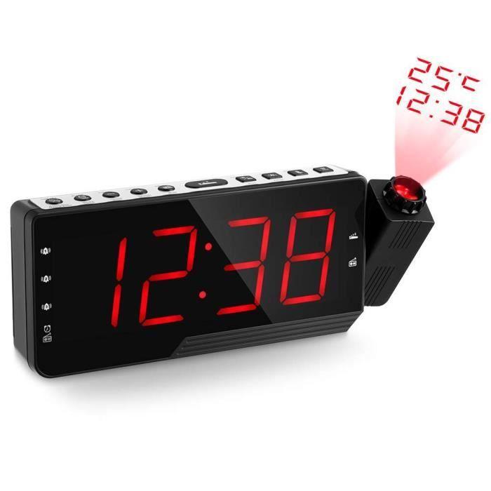 Réveil À Projection Bleu Avec Fonction De Radio-réveil Et Une Station Charge Pour Téléphone Portable Ou Tablette