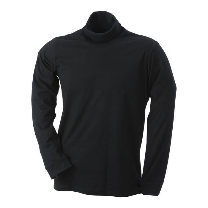 a281d6f28c Tee-shirt col roulé manches longues Noir - Achat / Vente t-shirt ...