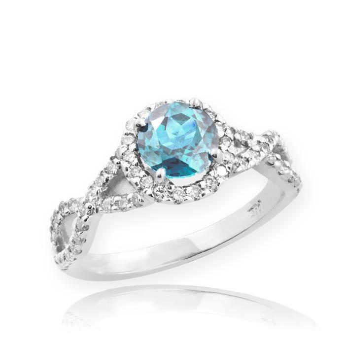 Bague Femme Alliance 10 ct Or Blanc 471/1000 Aquamarine Infinité Avec Diamant