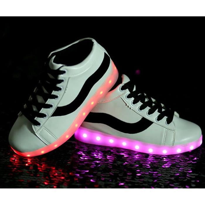 Taille 35-46 Éclairage LED Performance Chaussures USB Charge Grande Taille 7 Couleurs Homme et Femme Chaussures Lumineuse