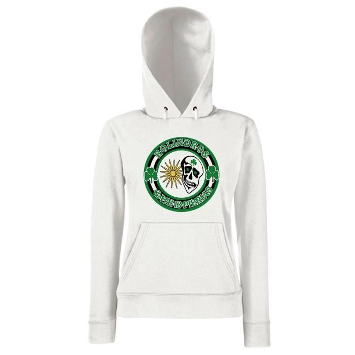 Sweatshirt A Capuche Femme Tum0055 Ultras Panatinaikos Gate 13 Blanc