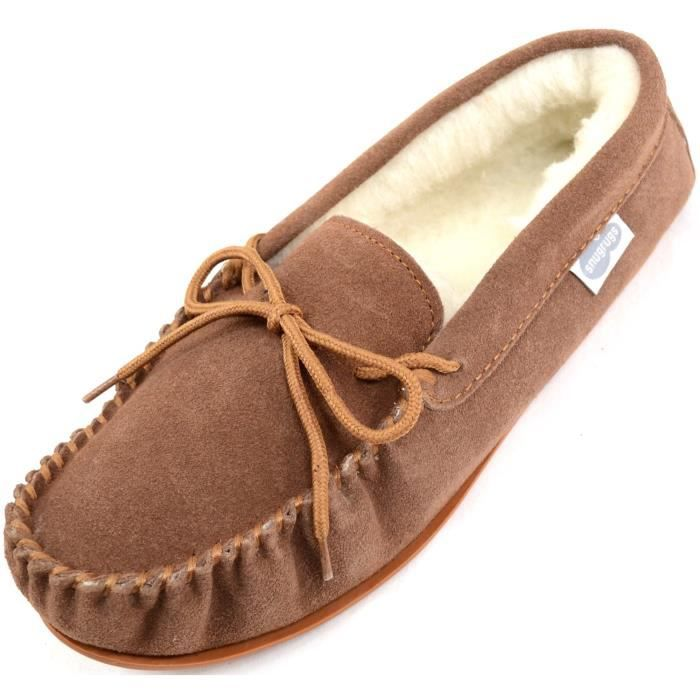 Suede Sheepskin Moccasin Slippers With Rubber Sole SWDPH Taille-40 1-2
