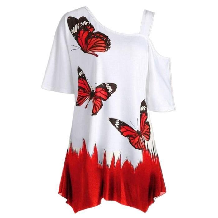 Eté Shirt Grande Taille Tee T Femme Pullover Blouse Casual Manche Minetom Imprimé Courte Col Hauts Tops Papillon Rond Mode ZkOXuliwPT