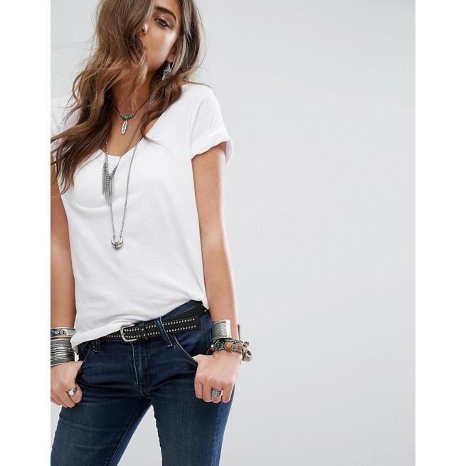 T SHIRT RALPH LAUREN Col V Femme BLANC - Blanc BLANC - Achat   Vente ... 0633bee1070